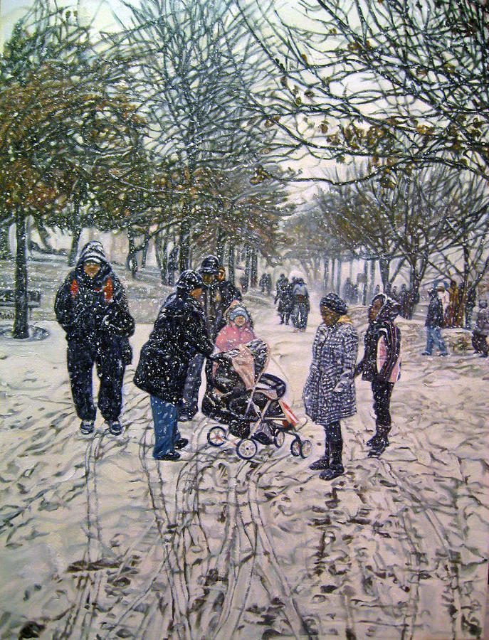 Winter Scene Painting - Snowy Day by Morris T Howard