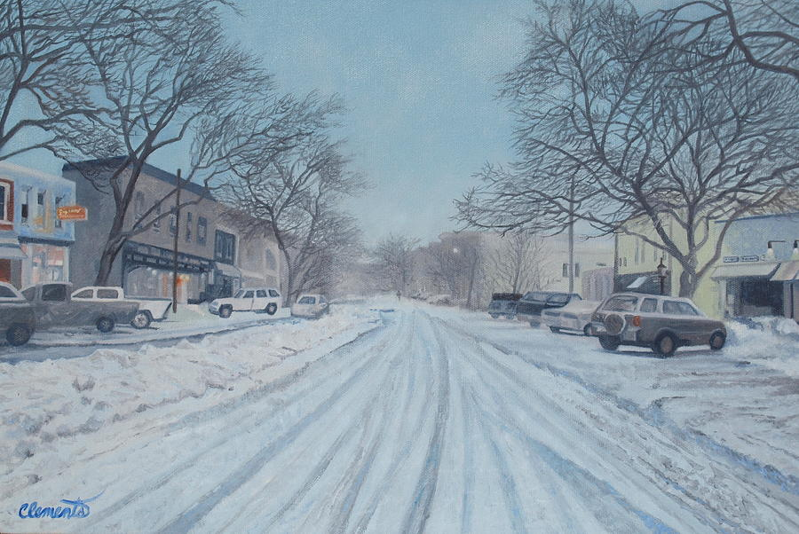 Snowy day on Main Street, Sag Harbor by Barbara Barber
