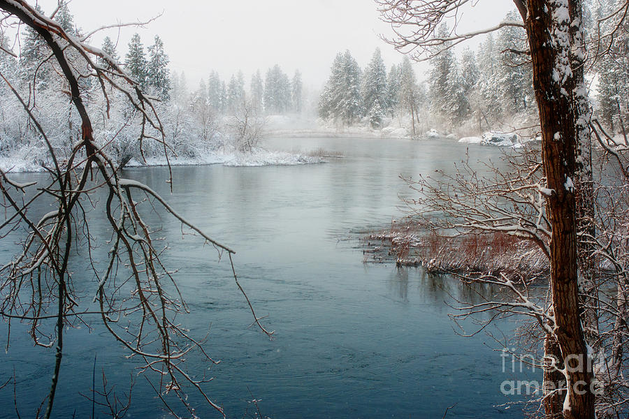 Spokane River Photograph - Snowy Day On The River by Beve Brown-Clark Photography