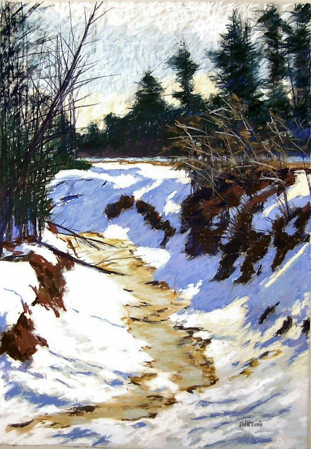 Pastel Painting - Snowy Ditch by Mary McInnis