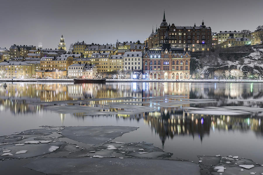 Stockholm Photograph - Snowy, dreamy reflection in Stockholm by Dejan Kostic