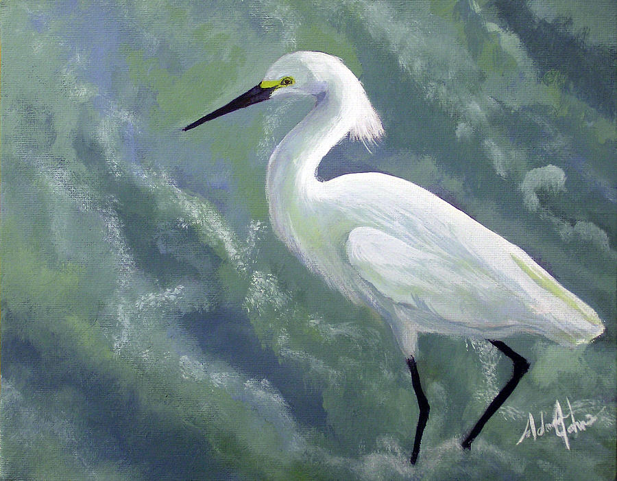 Egret Painting - Snowy Egret In Water by Adam Johnson