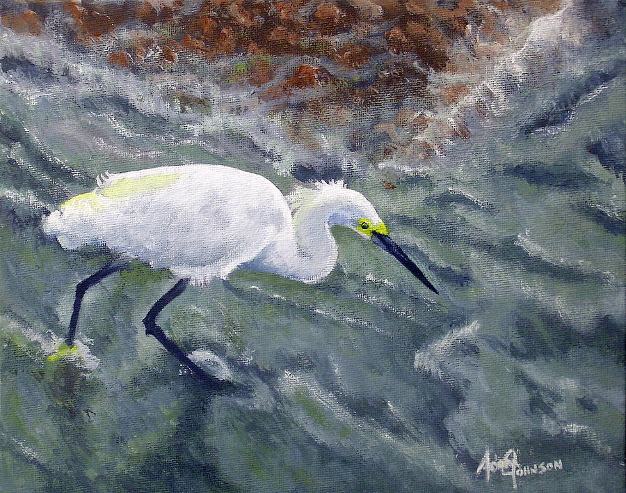Egret Painting - Snowy Egret Near Jetty Rock by Adam Johnson