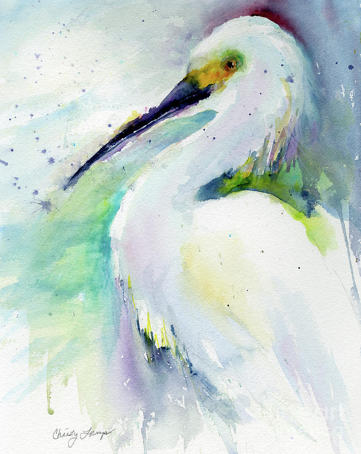 Florida Painting - Snowy Egret On Lido Beach by Christy Lemp