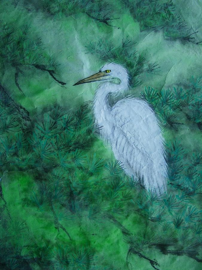 Nature Painting - Snowy Egrets by Jian Hua Li
