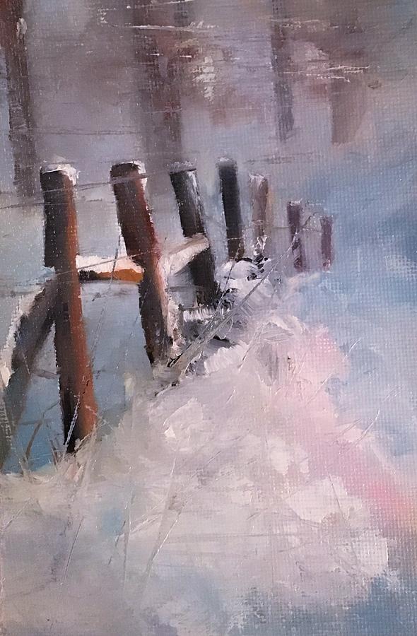 Snowy Fencerow Scene by Michele Carter