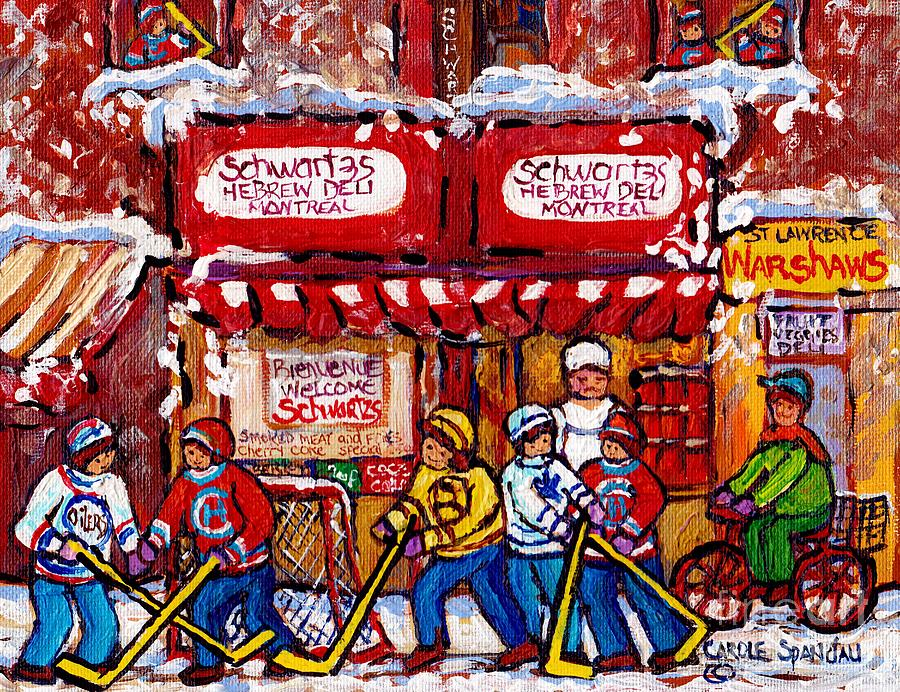 SNOWY HOCKEY GAME SCHWARTZ'S DELI MONTREAL LANDMARKS WINTERSCENE PAINTINGS FOR SALE C SPANDAU ARTIST by CAROLE SPANDAU