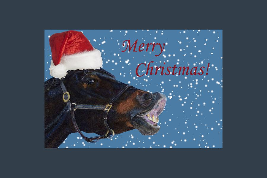 Horse Painting - Snowy Horse Jumping Christmas by Patricia Barmatz
