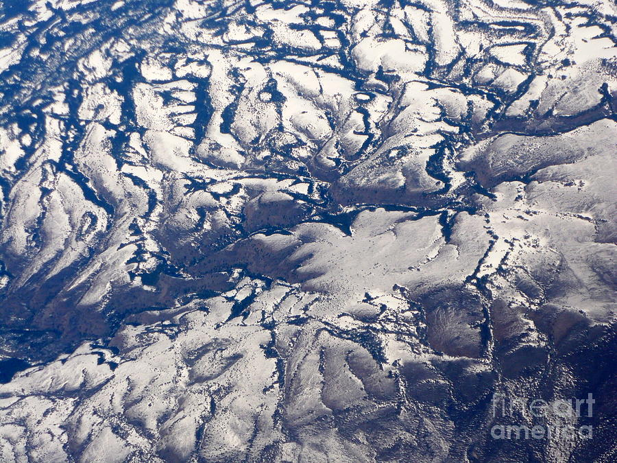 Aerial Photograph - Snowy Landscape Aerial by Carol Groenen