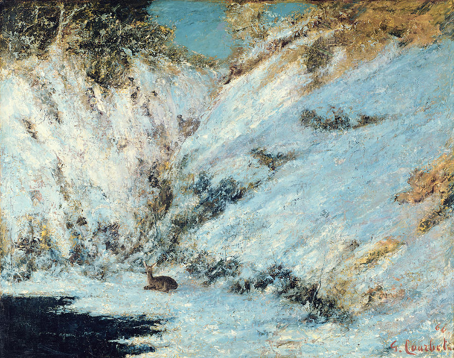 Snowy Painting - Snowy Landscape by Gustave Courbet
