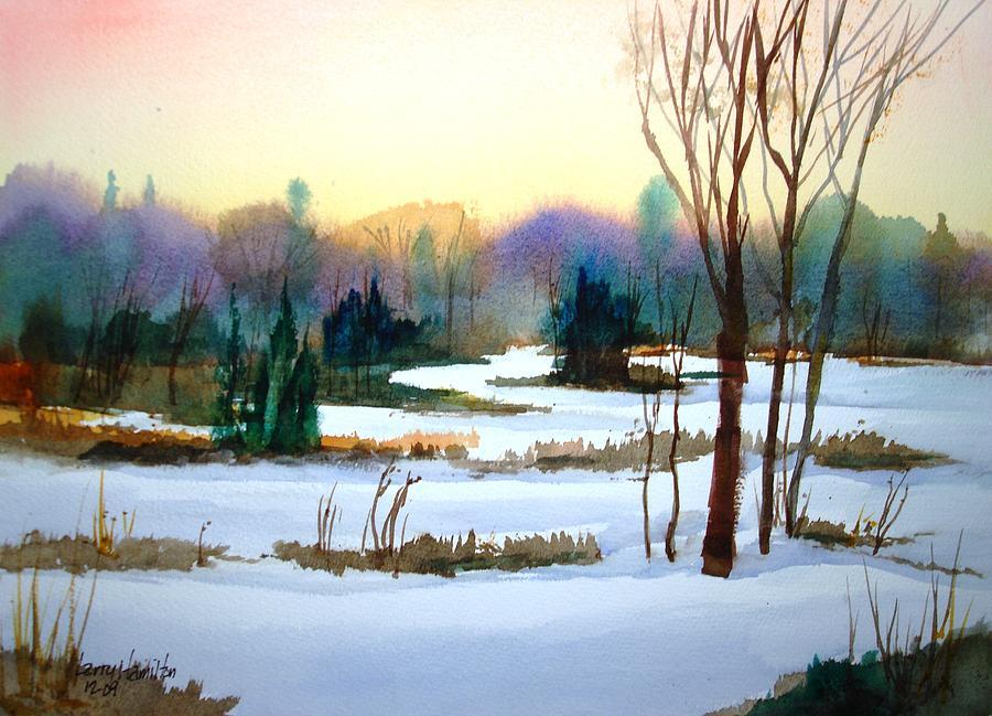 Watercolor Painting - Snowy Landscape Scene by Larry Hamilton