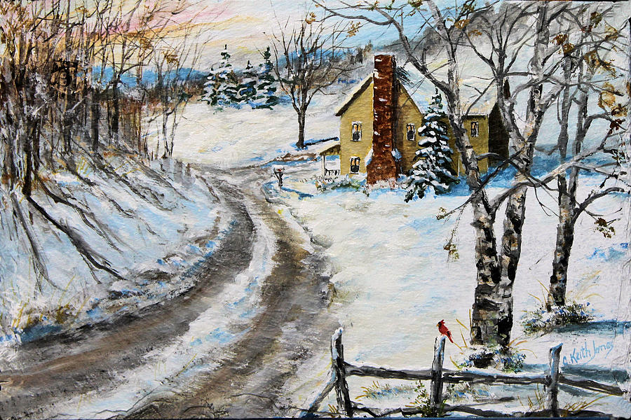 Country Lane Painting - Snowy Lane by C Keith Jones