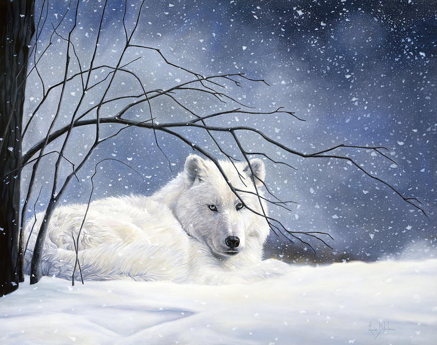 Wolf Painting - Snowy by Lucie Bilodeau