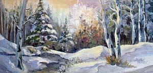 Snow Scene Painting - Snowy Morning by Audie Yenter
