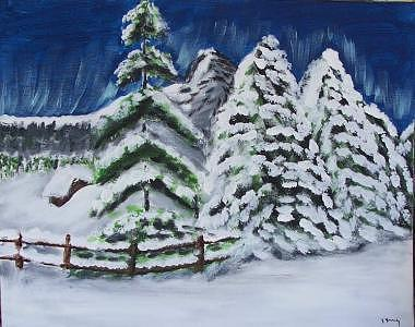 Snow Bound Painting - Snowy Morning by Kathy Young