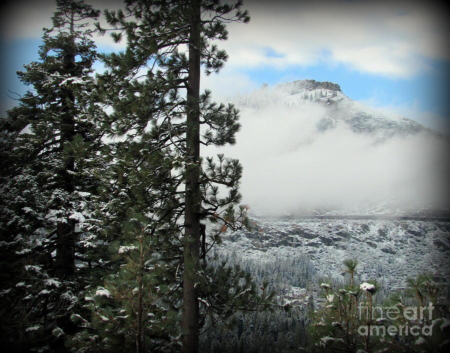 Mountain Photograph - Snowy Mountain above Donner Lake by Joy Patzner