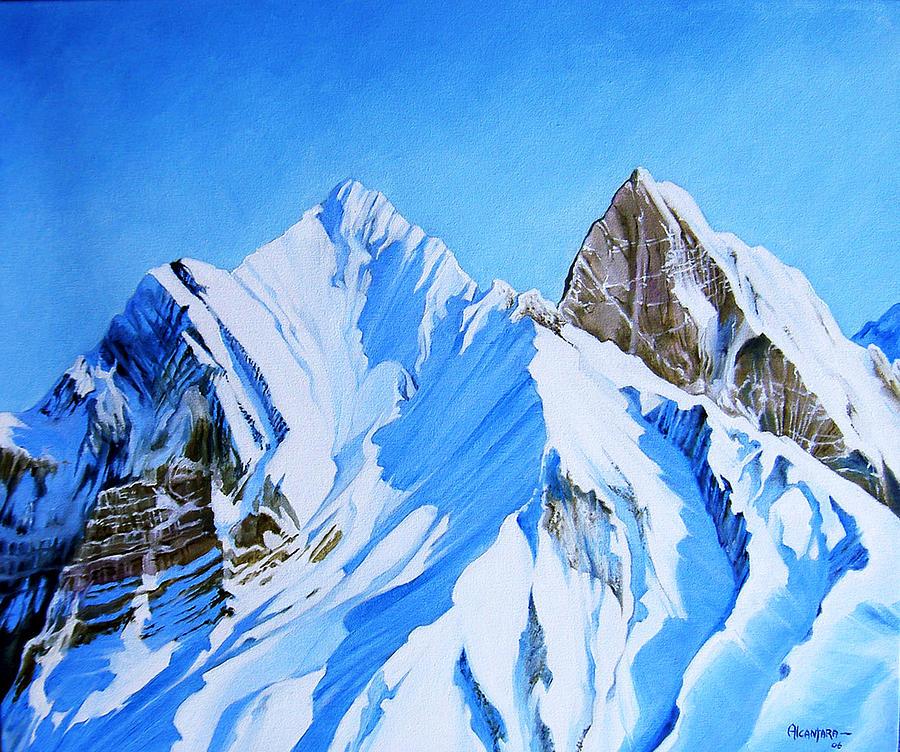 snowy mountain painting by juan alcantara. Black Bedroom Furniture Sets. Home Design Ideas