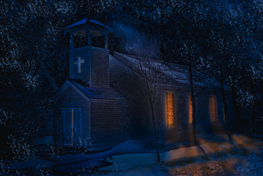 Snowy Night at The Church at Silver Plume by J Griff Griffin