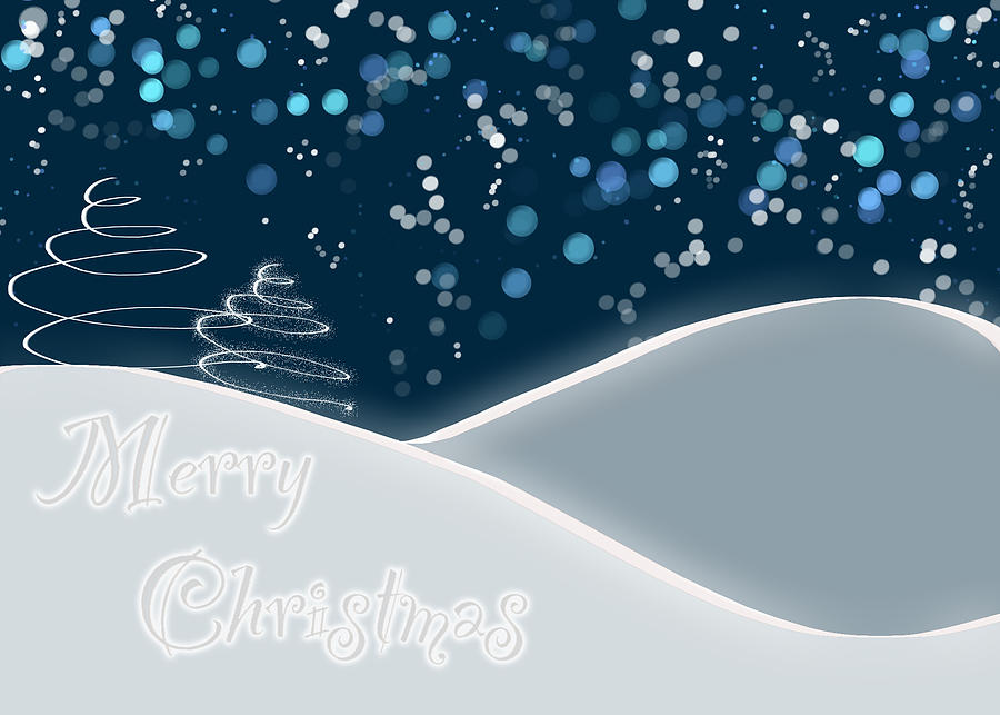 Snow Digital Art - Snowy Night Christmas Card by Lisa Knechtel