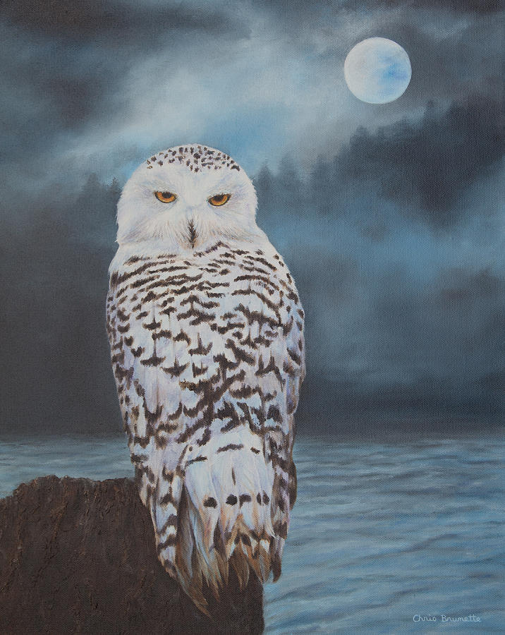 Snowy Owl In Moonlight Painting by Christine Brunette