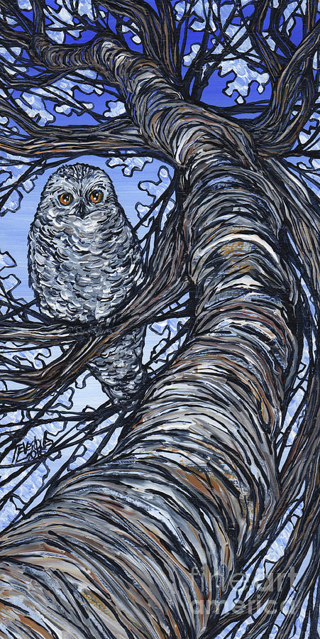 Snowy Owl in Tree by Tracy Levesque