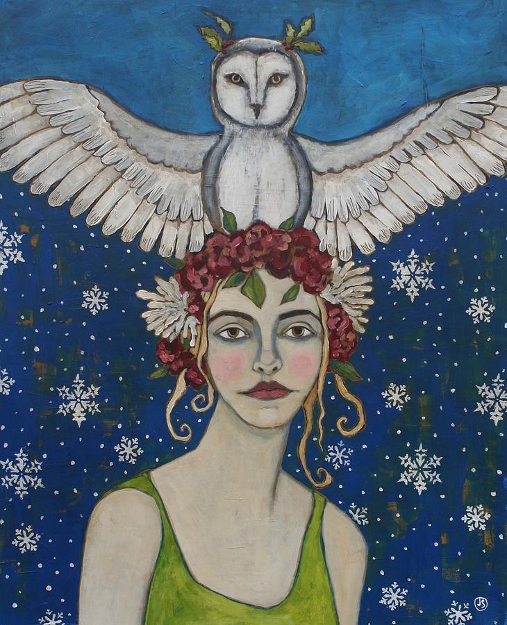 Snow Painting - Snowy Owl by Jane Spakowsky
