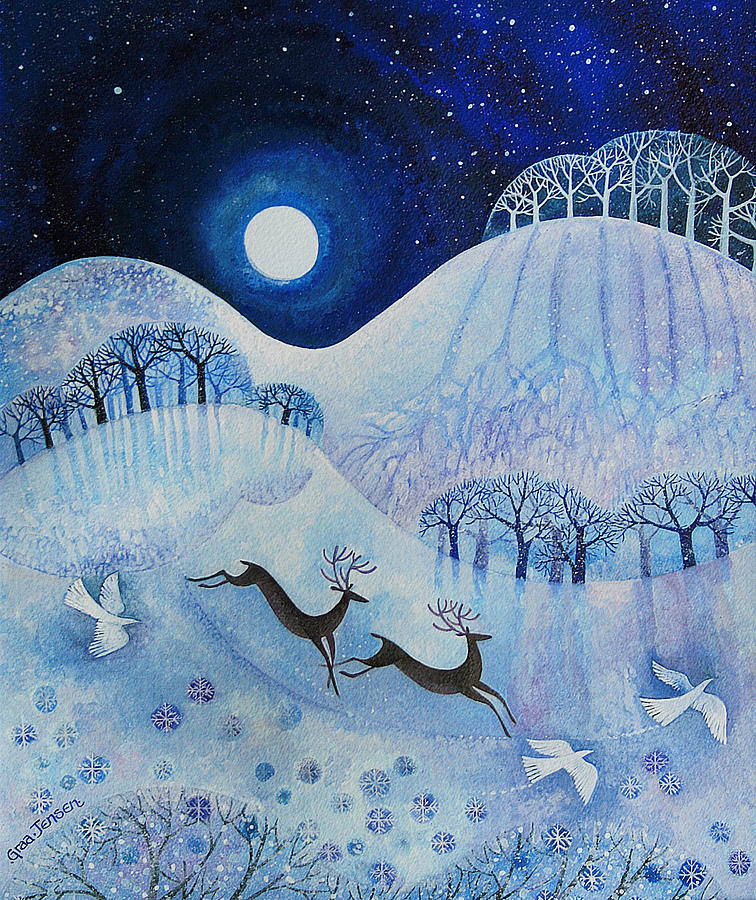 Snowy Painting - Snowy Peace by Lisa Graa Jensen