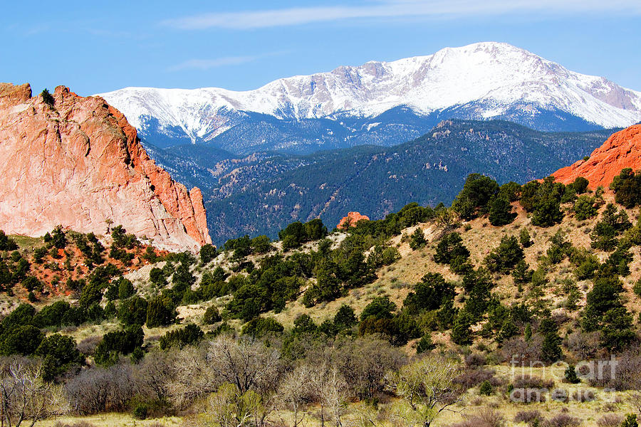 Snowy Pikes Peak And Garden Of The Gods Park In Colorado Springs In Th Photograph
