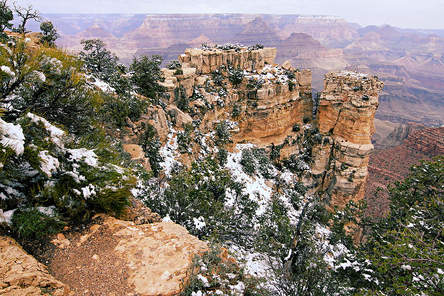 Grand Canyon National Park Photograph - Snowy Pillar 2 - Grand Canyon by Larry Ricker