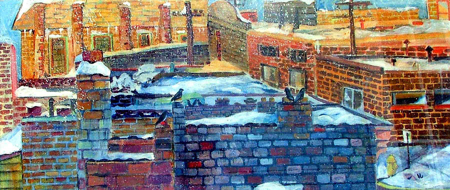 Winter Painting - Snowy Roof Tops by Mindy Newman