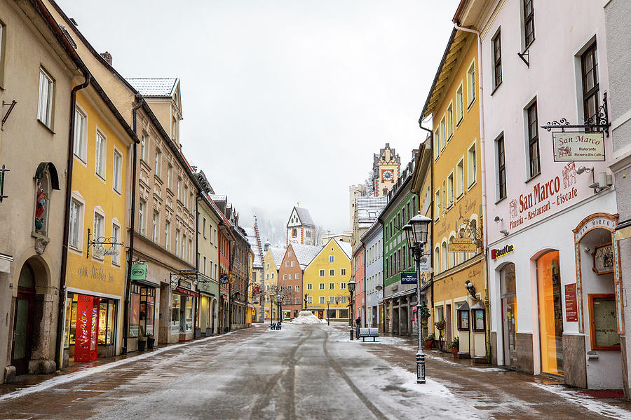 Snowy street in Fussen by M C Hood