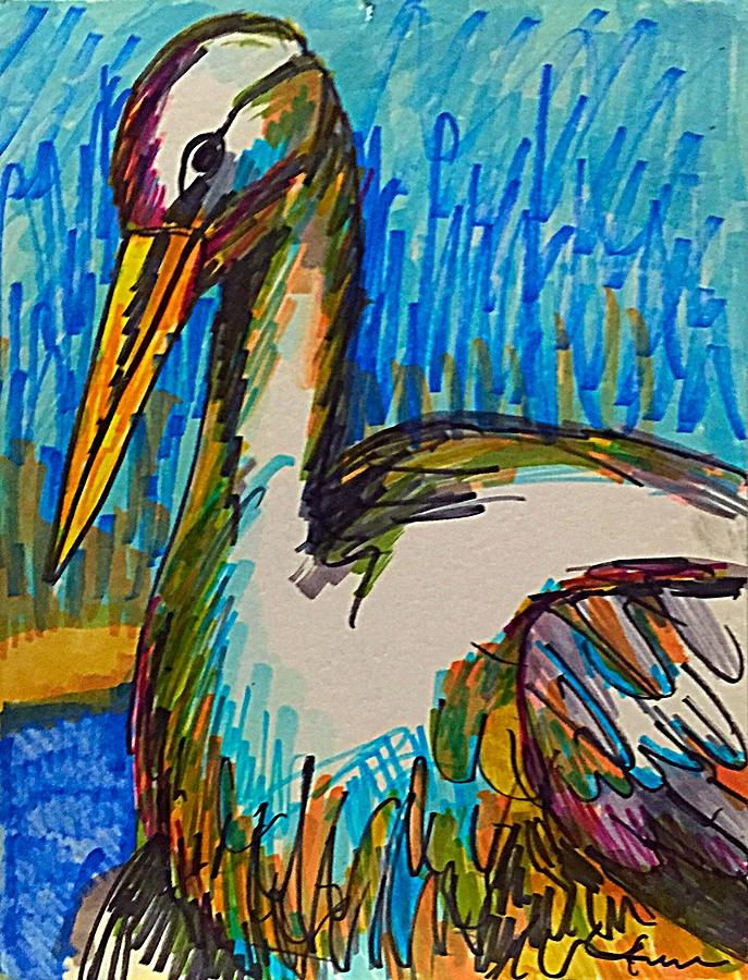 Egret Drawing - Codys Critters - Snowy the Egret  by George Frayne
