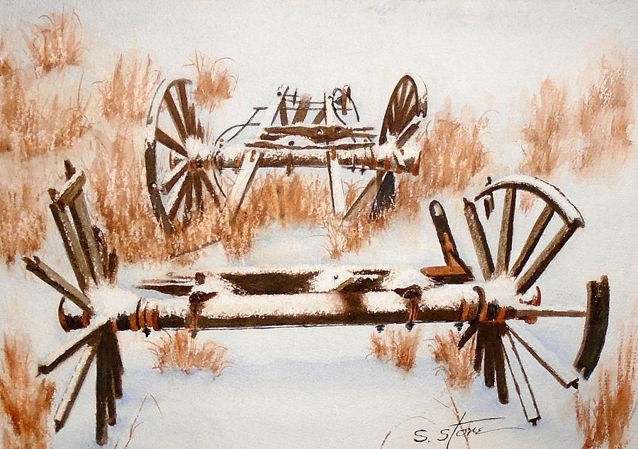 Snowy Wagon Boneyard by Sandra Stone