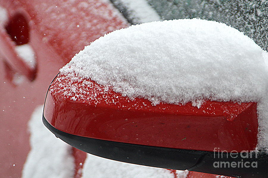 Car Photograph - Snowy Wing Mirror by Andy Thompson