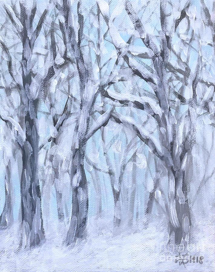 Winter Woods Painting - Snowy Woods  by Wonju Hulse