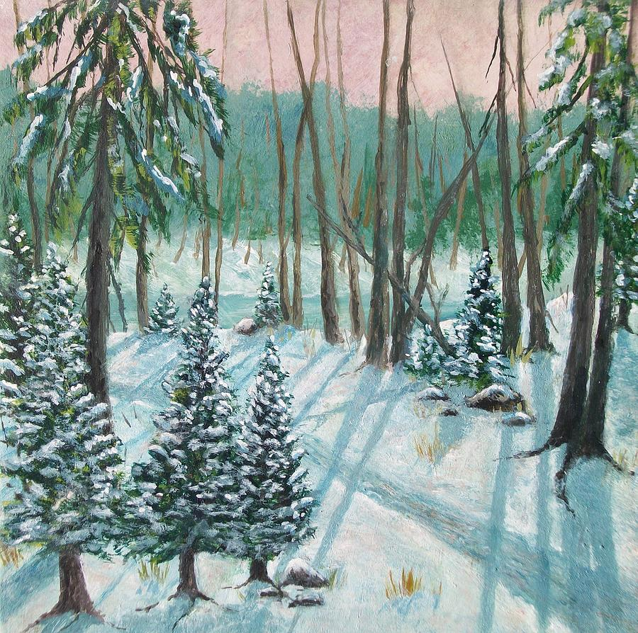 Snowy Woods Painting By Gary Adams