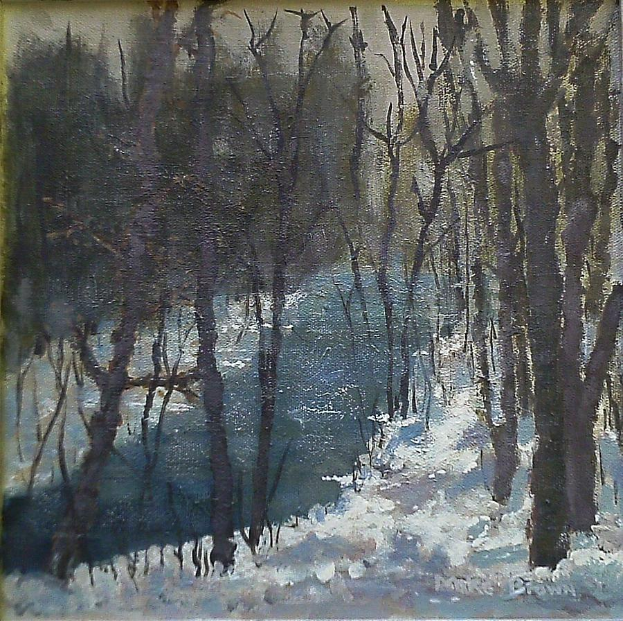 Snowy Woods With Stream Painting By Michael Lynn Brown