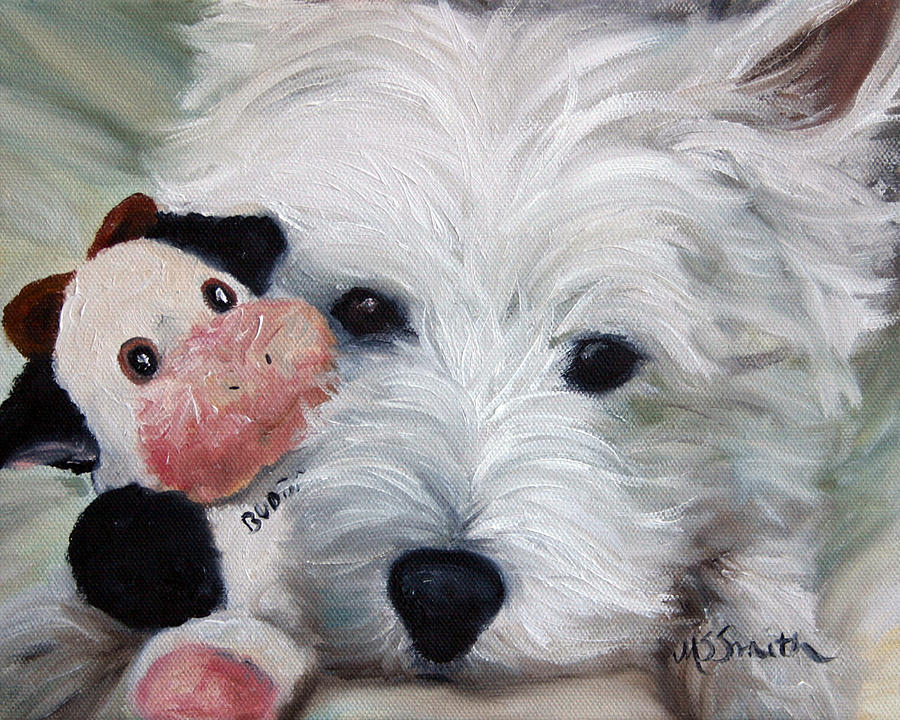Westie Painting - Snuggling Up To Budda by Mary Sparrow