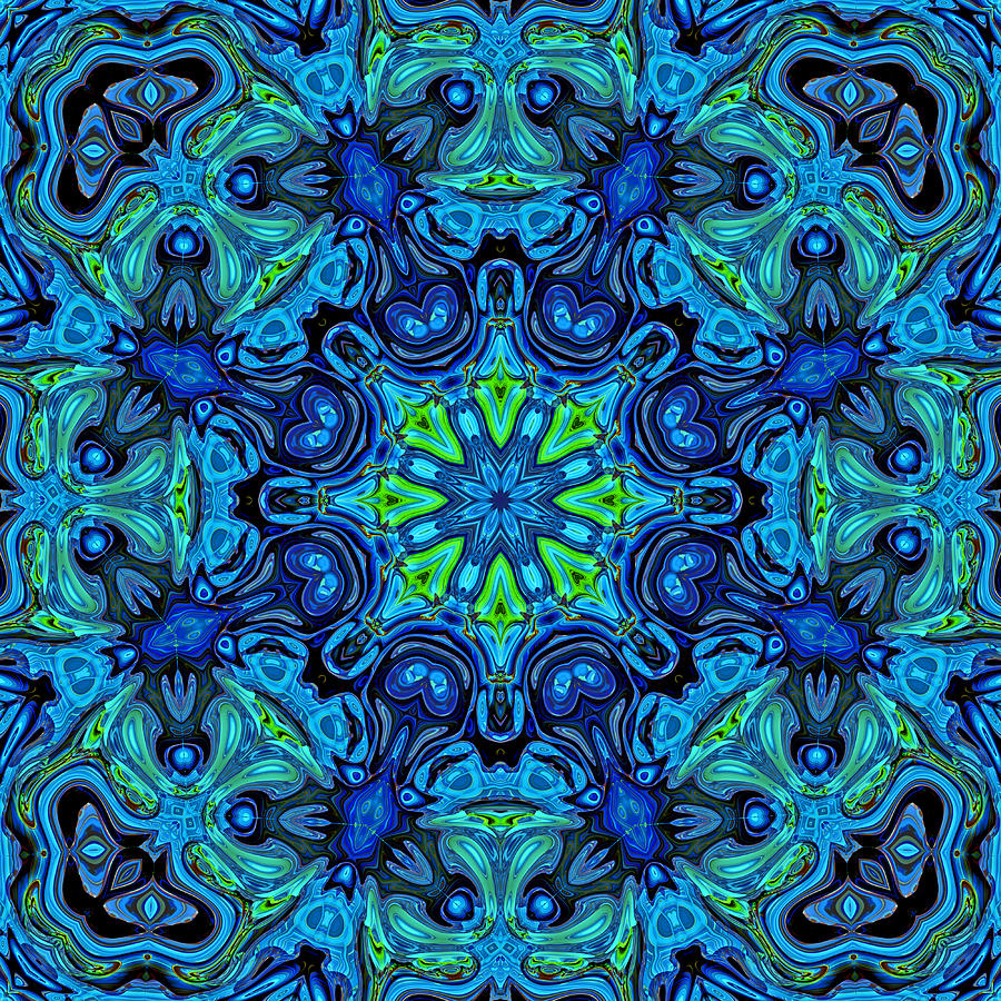 Blue Digital Art - So Blue - 04v2 - Mandala by Aimelle