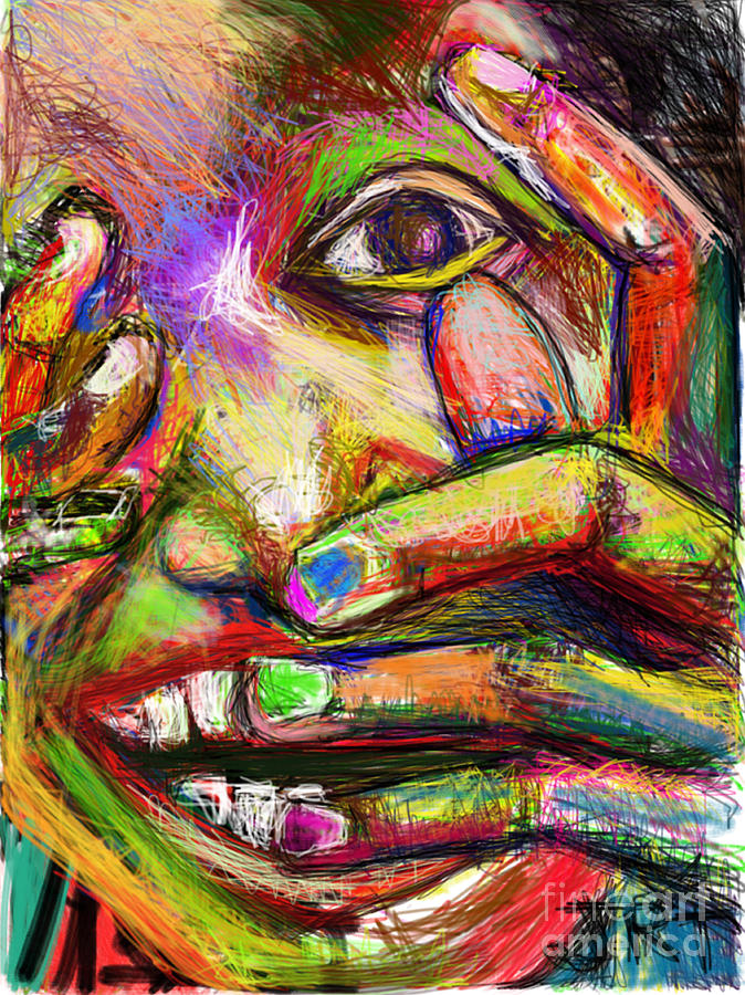 Fingers Painting - So Happy and Fingers by James Thomas