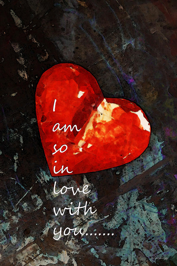 Heart Painting - So In Love With You - Romantic Red Heart Painting by Sharon Cummings