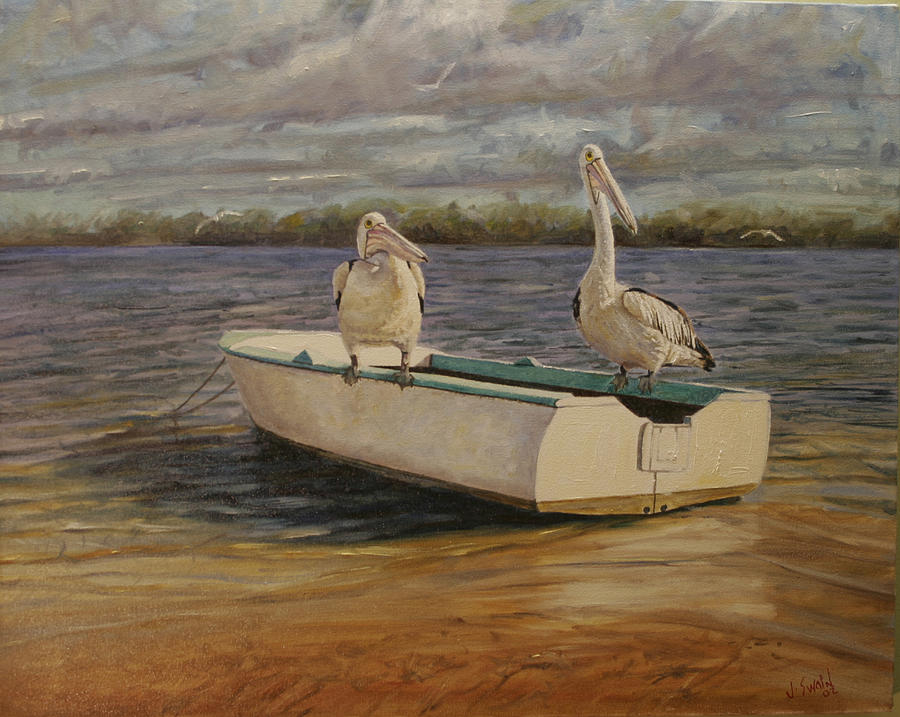 Birds Painting - Soaking It Up by Jason  Swain