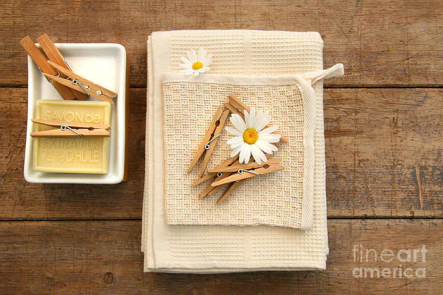 Clip Photograph - Soap Clothespins And Towels  by Sandra Cunningham