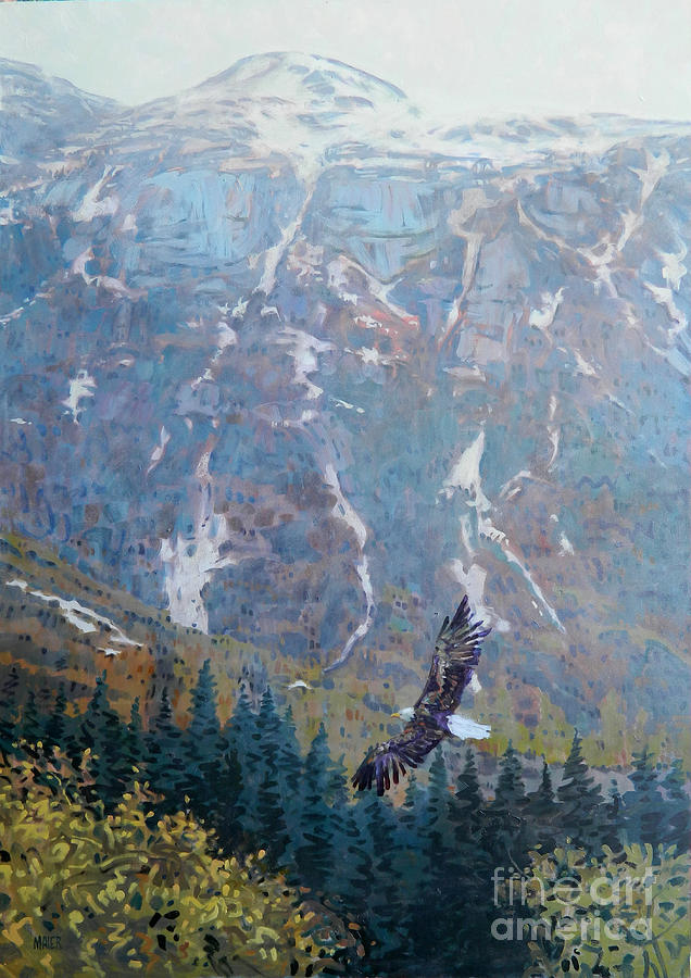 Bald Eagle Painting - Soaring Eagle by Donald Maier
