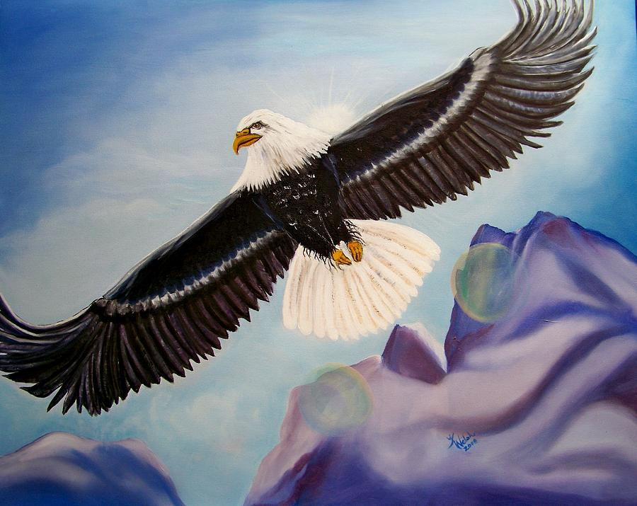 Eagle Painting - Soaring Eagle by Kathern Welsh