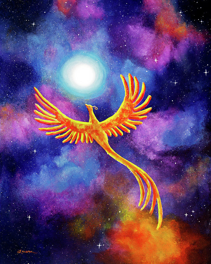 Fantasy Painting - Soaring Firebird In A Cosmic Sky by Laura Iverson