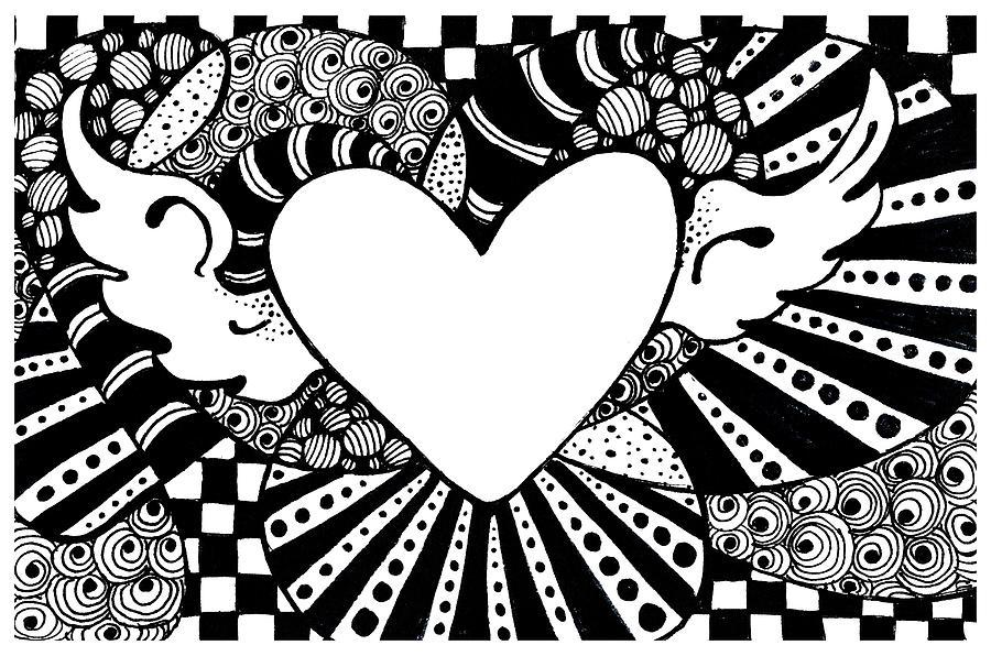 Zen Tangle Drawing - Soaring Heart  by Nada Meeks