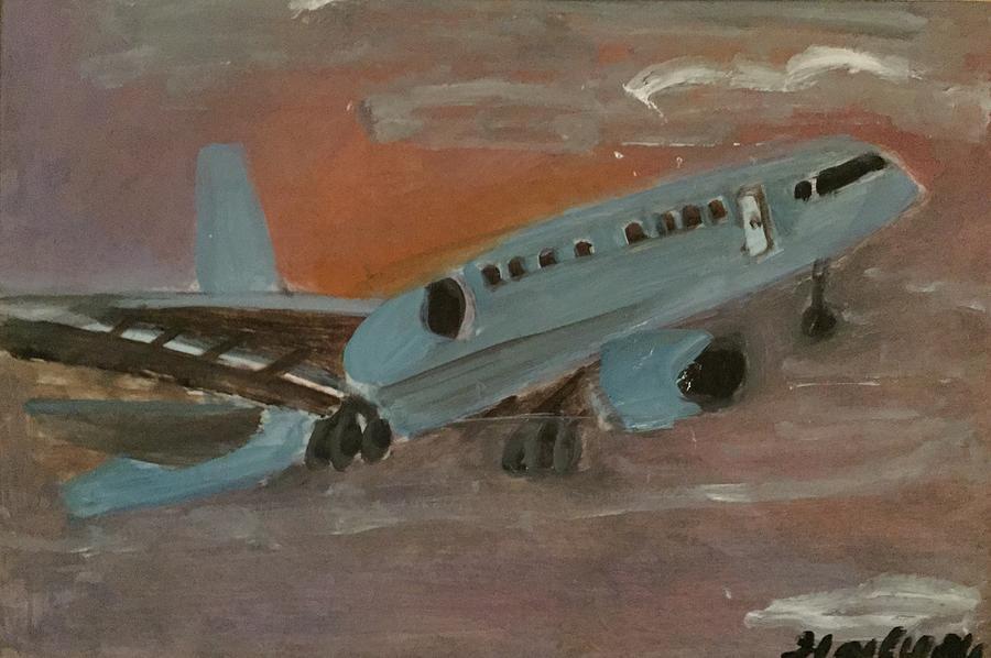 Airplane Painting - Soaring High by Ramya Sundararajan