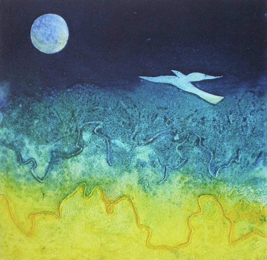 Collagraph Mixed Media - Soaring Into The Blue by Susanne Clark