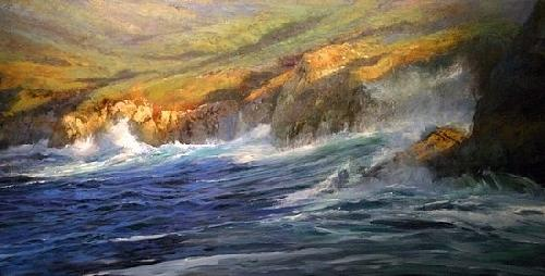 Sobrannes Point  Big Sur Painting by Gil Dellinger